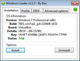 Windows Loader by Daz 2.2.2 интерфейс
