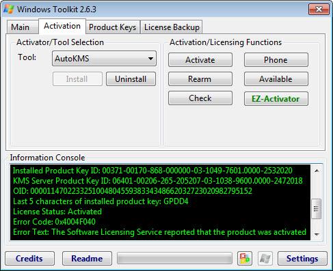 Microsoft Toolkit проверка активации